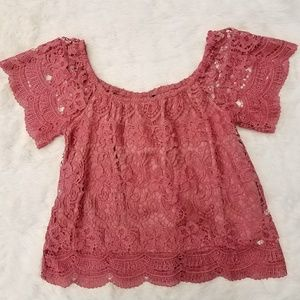 Tops - Off the Shoulder Lace Embroidered Top size XL